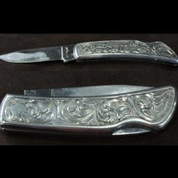 Silver Engraved Knife - Lineman