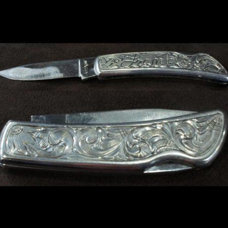 Silver Engraved Knife - Lineman