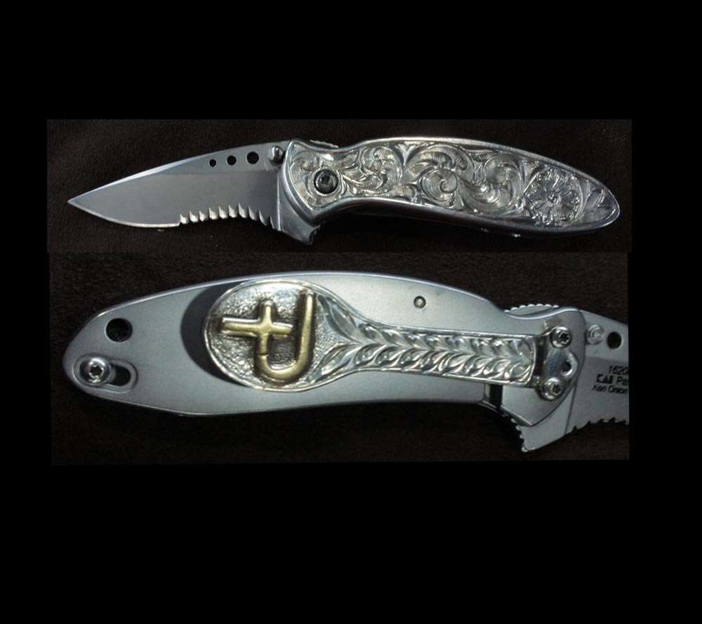 Silver Engraved Knife - Range Boss
